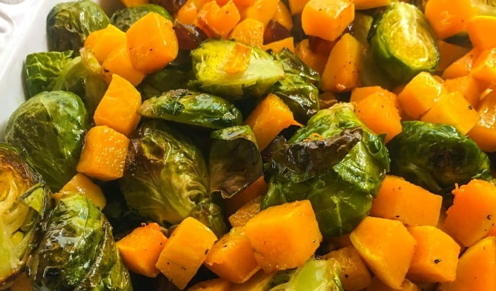 Roasted Brussels Sprouts and Butternut Squash With Medjool Dates