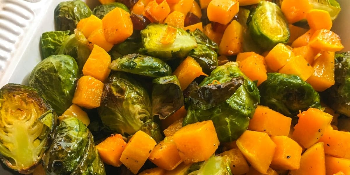 Roasted Brussels Sprouts and Butternut Squash With Medjool Dates | The Leafy Little Home