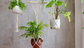Image of planters with hangers made from Basic Macramé Knots